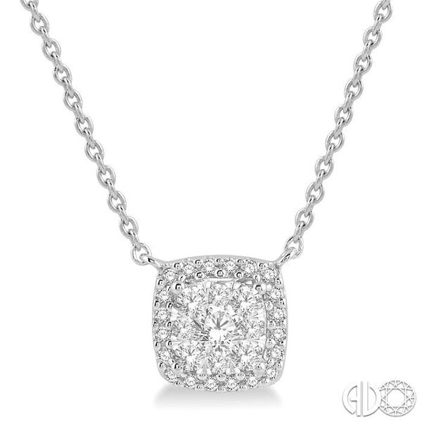 3/4 Ctw Cushion Shape Pendant Lovebright Diamond Necklace in 14K White Gold Robert Irwin Jewelers Memphis, TN