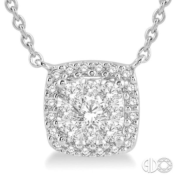 3/4 Ctw Cushion Shape Pendant Lovebright Diamond Necklace in 14K White Gold Image 3 Robert Irwin Jewelers Memphis, TN