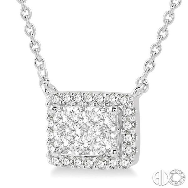 1/3 ctw Emerald Shape Round Cut Diamond Lovebright Necklace in 14K White Gold Image 2 Robert Irwin Jewelers Memphis, TN