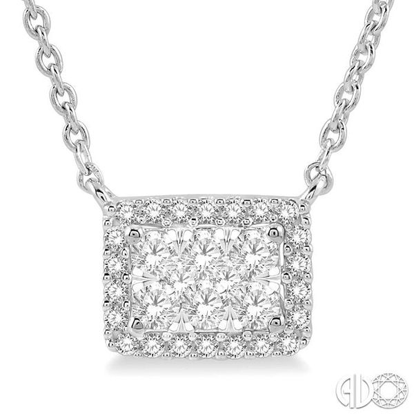 1/3 ctw Emerald Shape Round Cut Diamond Lovebright Necklace in 14K White Gold Robert Irwin Jewelers Memphis, TN
