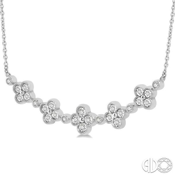 1/6 Ctw Floral Accent Round Cut Diamond Fashion Necklace in 10K White Gold Image 2 Robert Irwin Jewelers Memphis, TN
