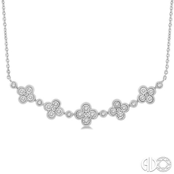 1/6 Ctw Floral Accent Round Cut Diamond Fashion Necklace in 10K White Gold Robert Irwin Jewelers Memphis, TN