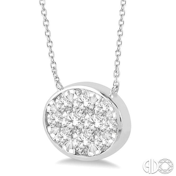 3/4 Ctw Oval Shape Pendant Lovebright Diamond Necklace in 14K White Gold Image 2 Robert Irwin Jewelers Memphis, TN