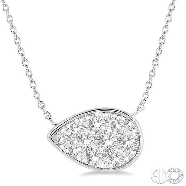 1/2 Ctw Pear Shape Pendant Lovebright Diamond Necklace in 14K White Gold Robert Irwin Jewelers Memphis, TN