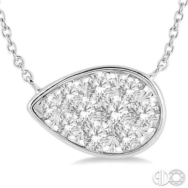 1/2 Ctw Pear Shape Pendant Lovebright Diamond Necklace in 14K White Gold Image 3 Robert Irwin Jewelers Memphis, TN