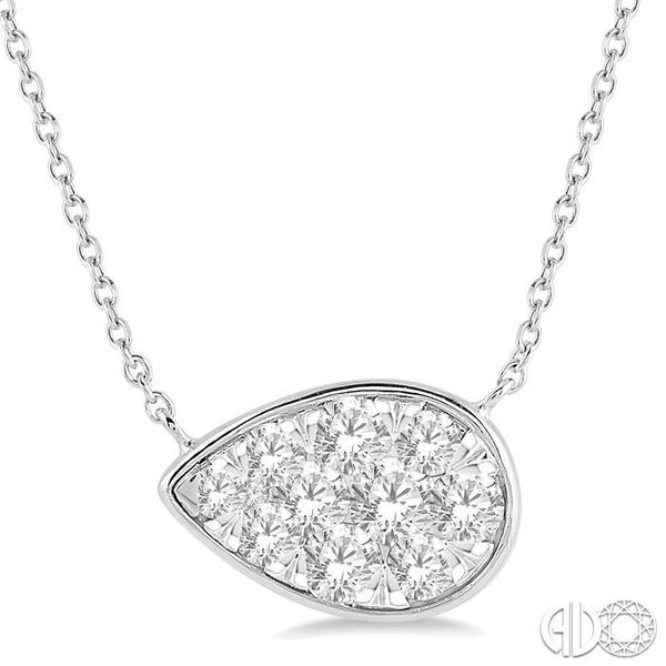 3/4 Ctw Pear Shape Pendant Lovebright Diamond Necklace in 14K White Gold Robert Irwin Jewelers Memphis, TN