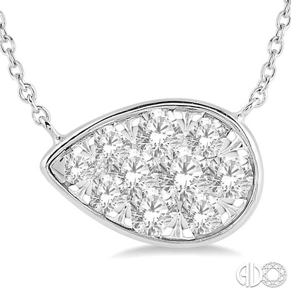 3/4 Ctw Pear Shape Pendant Lovebright Diamond Necklace in 14K White Gold Image 3 Robert Irwin Jewelers Memphis, TN