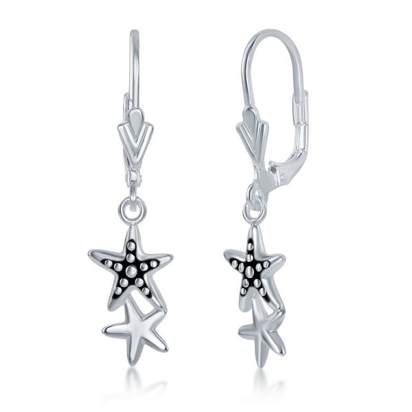 Sterlng Silver Oxidized Double Starfish Earrings Robert Irwin Jewelers Memphis, TN