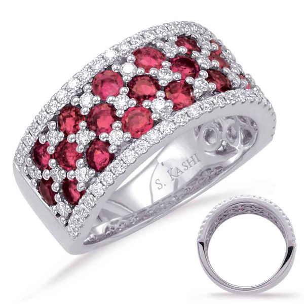 White Gold Ruby & Diamond Ring Robert Irwin Jewelers Memphis, TN