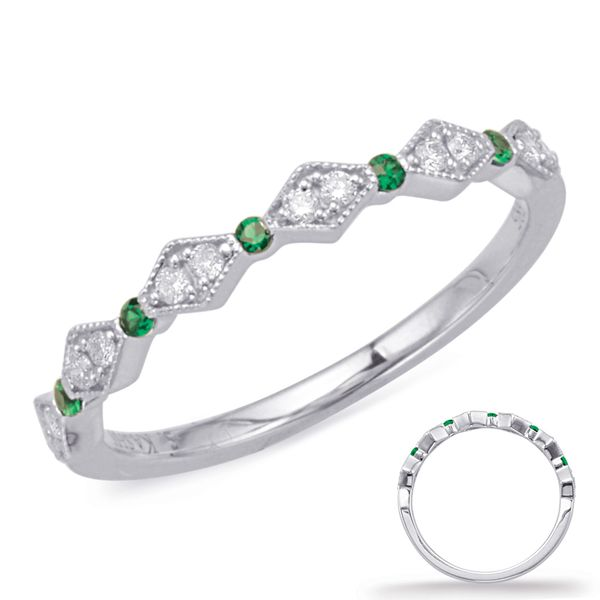 White Gold Emerald & Diamond Ring Robert Irwin Jewelers Memphis, TN
