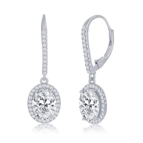 Sterling Silver Oval CZ Halo Dangling Earrings Robert Irwin Jewelers Memphis, TN