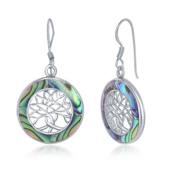 Sterling Silver Small Tree of Life Round Earrings - Abalanoe Robert Irwin Jewelers Memphis, TN