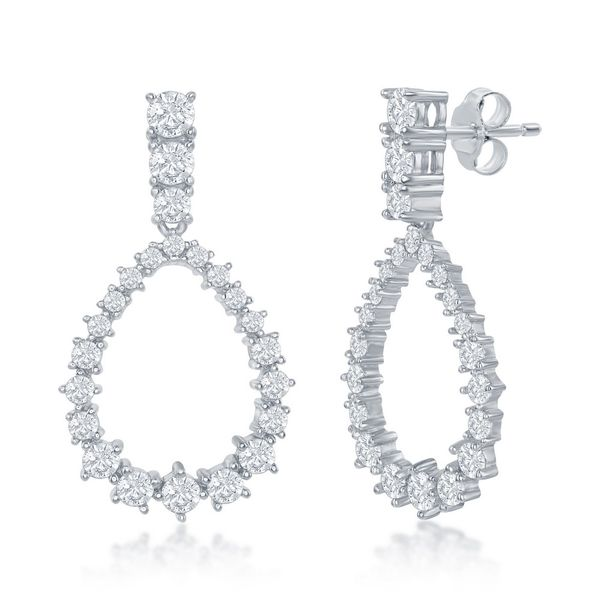 Sterling Silver Pearshaped CZ Earrings Robert Irwin Jewelers Memphis, TN