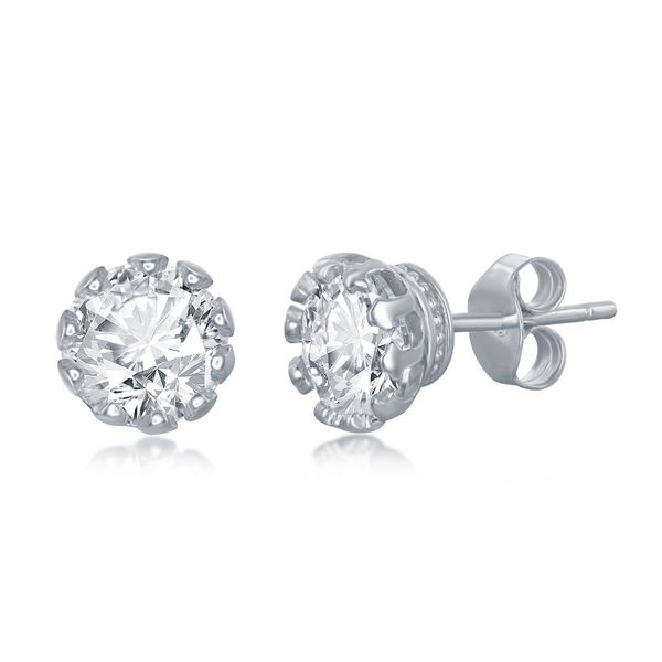 Set of 5 - Sterling Silver Crown Set Prong Round 7mm CZ Stud Earrings Image 2 Robert Irwin Jewelers Memphis, TN