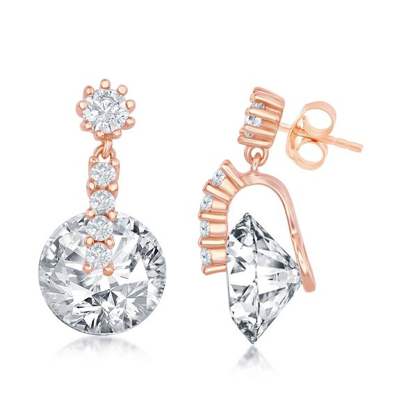 Sterling Silver Round Spinning CZ Earrings - Rose Gold Plated Robert Irwin Jewelers Memphis, TN