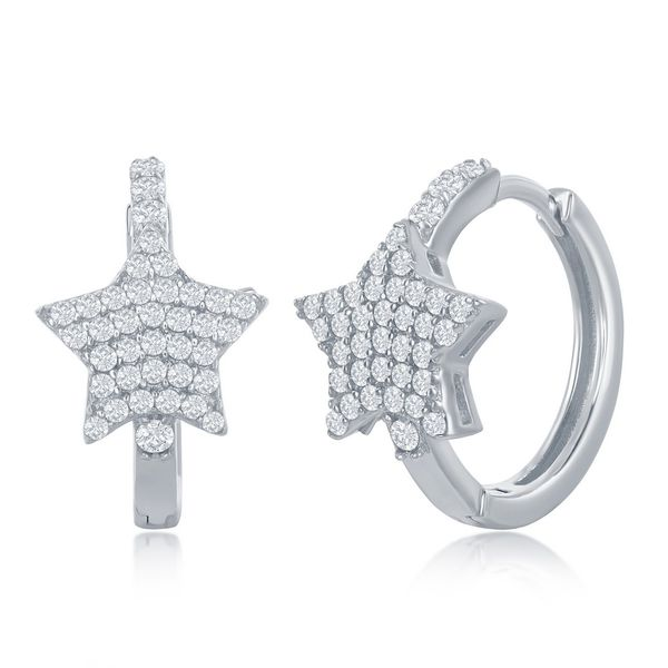 Sterling Silver Mircro Pave CZ Star Huggie Hoop Earrings Robert Irwin Jewelers Memphis, TN