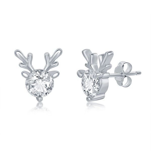 Sterling Silver Round CZ with Reindeer Antlers Earrings Robert Irwin Jewelers Memphis, TN