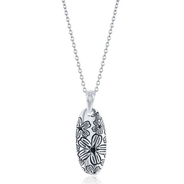 Sterling Silver Oval Flower Design Pendant Robert Irwin Jewelers Memphis, TN