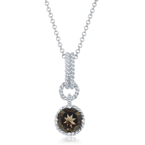 Sterling Silver Round-Gem Twisted Wire Circle Pendant - Smokey Topaz Robert Irwin Jewelers Memphis, TN