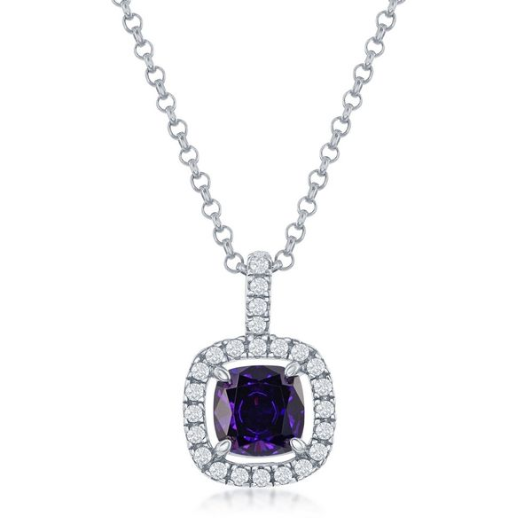 Sterling Silver White CZ Square Pendant - Amethyst Robert Irwin Jewelers Memphis, TN