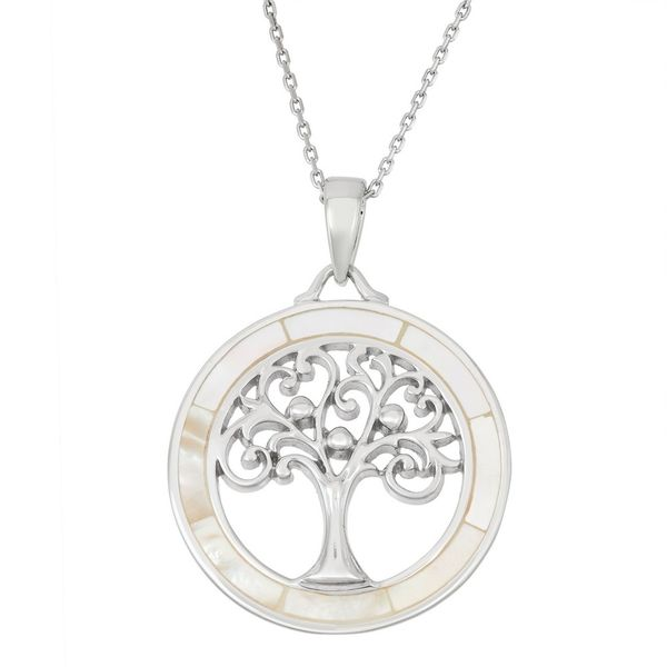 Sterling Silver Round White MOP with Center Tree of Life Pendant Robert Irwin Jewelers Memphis, TN