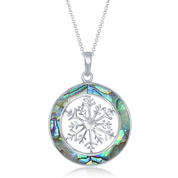 Sterling Silver Snowflake Round Pendant With Chain - Abalone Robert Irwin Jewelers Memphis, TN