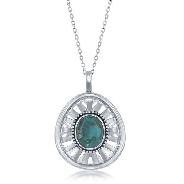 Sterling Silver Oval Turquoise Open Desigsned Back Oxidized Pendant Robert Irwin Jewelers Memphis, TN