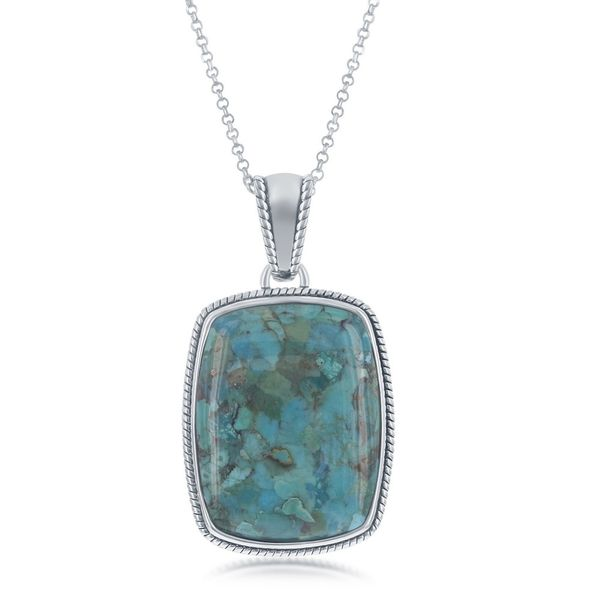 Sterling Silver Turquoise Oxidized Rope Design Border Rectangle Pendant With Chain Robert Irwin Jewelers Memphis, TN