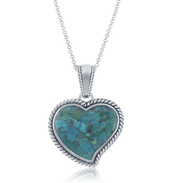 Sterling Silver Turquoise Heart Oxidized Rope Design Border Pendant With Chain Robert Irwin Jewelers Memphis, TN