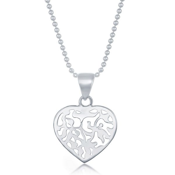 Sterling Silver 17 Inch Diamond Cut Bead Chain With Flat Heart Necklace Robert Irwin Jewelers Memphis, TN