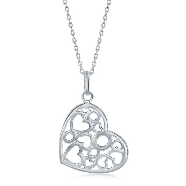 Sterling Silver Heart w/Hearts and Circles Inside Necklace Robert Irwin Jewelers Memphis, TN