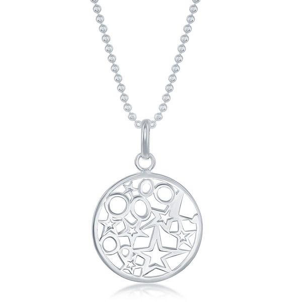 Sterling Silver 17 Inch Circle With Stars and Circles Inside Necklace Robert Irwin Jewelers Memphis, TN