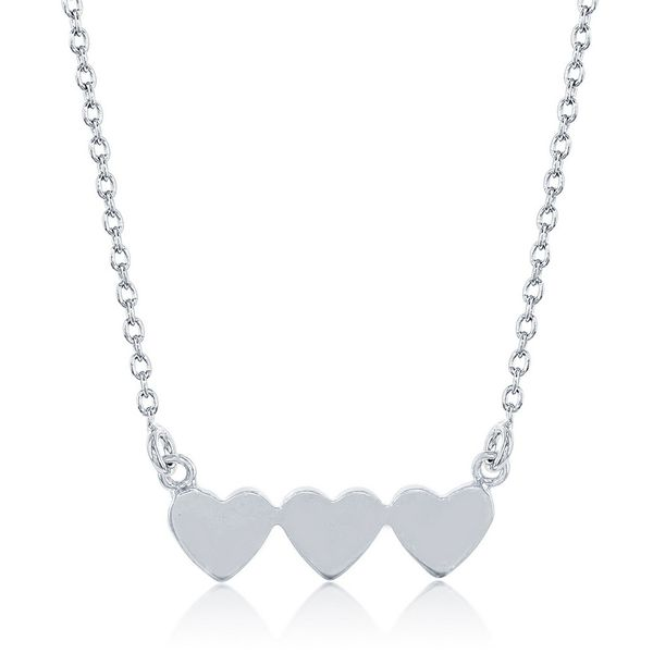 Sterling Silver Flat Connected Triple Heart Necklace Robert Irwin Jewelers Memphis, TN