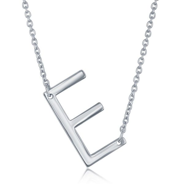Sterling Silver Sideways 'E' Initial Necklace Robert Irwin Jewelers Memphis, TN