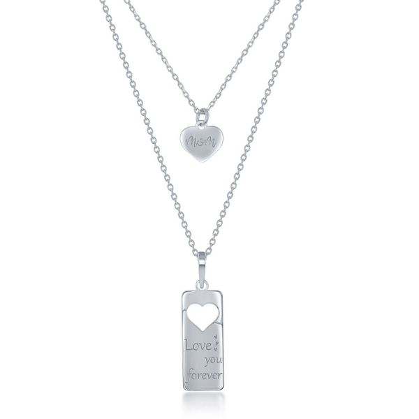 Sterling Silver 2PC Tag Heart Necklace Set - 16+2 Inch 'Love You Forever' Tag & 14+2 'Mom Heart Robert Irwin Jewelers Memphis, TN