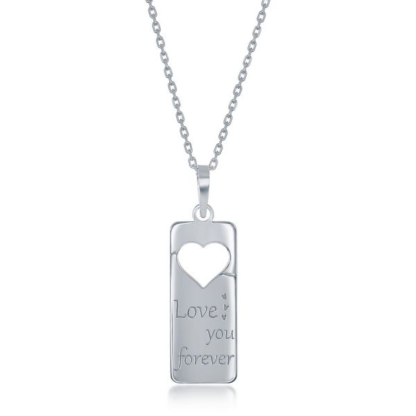 Sterling Silver 2PC Tag Heart Necklace Set - 16+2 Inch 'Love You Forever' Tag & 14+2 'Mom Heart Image 2 Robert Irwin Jewelers Memphis, TN