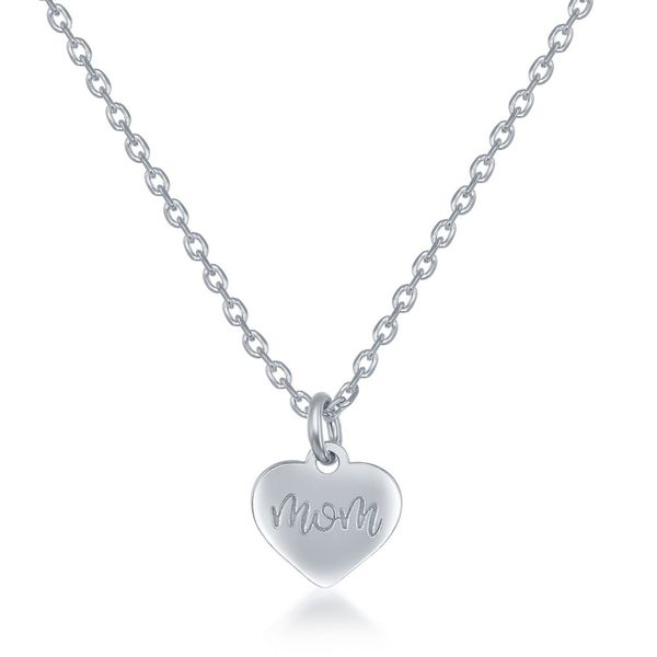 Sterling Silver 2PC Tag Heart Necklace Set - 16+2 Inch 'Love You Forever' Tag & 14+2 'Mom Heart Image 3 Robert Irwin Jewelers Memphis, TN