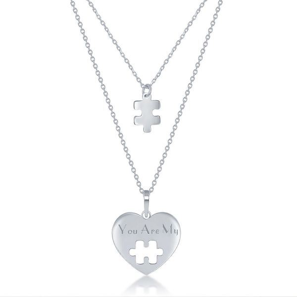 Sterling Silver 2PC, Puzzle Piece Necklace Set - '16+2 Inch 'You Are My' Heart, 14+2 Puzzle Piece Robert Irwin Jewelers Memphis, TN