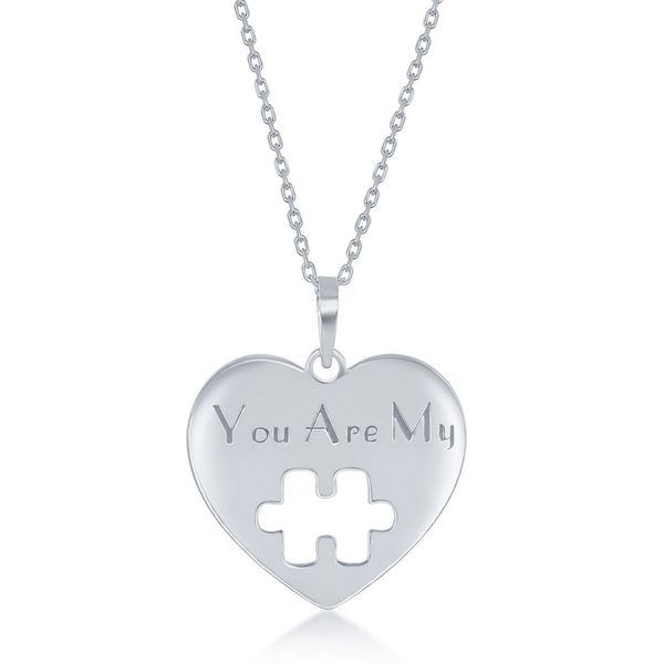 Sterling Silver 2PC, Puzzle Piece Necklace Set - '16+2 Inch 'You Are My' Heart, 14+2 Puzzle Piece Image 2 Robert Irwin Jewelers Memphis, TN