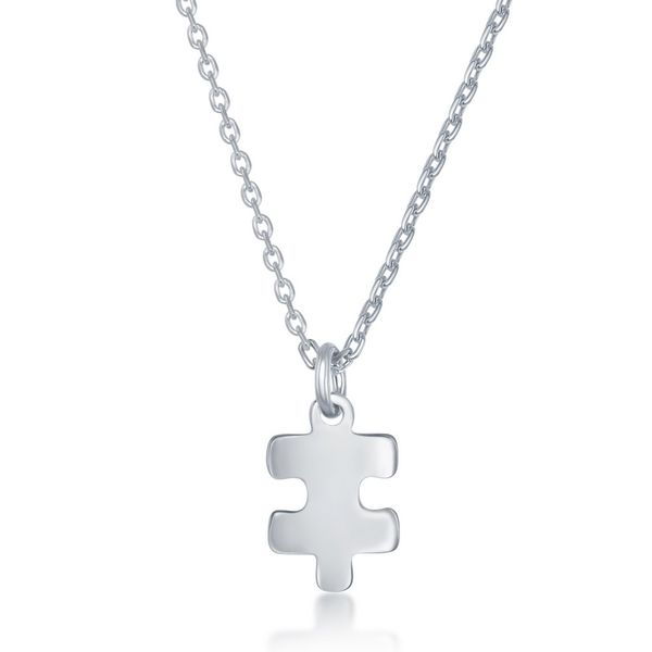 Sterling Silver 2PC, Puzzle Piece Necklace Set - '16+2 Inch 'You Are My' Heart, 14+2 Puzzle Piece Image 3 Robert Irwin Jewelers Memphis, TN