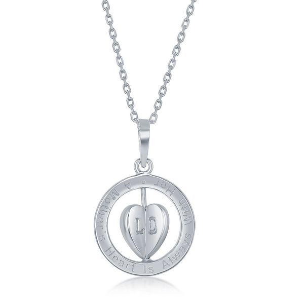A Mother's Heart is Always with Her Children' Spinning 3-D Heart, Sterling Silver Necklace Image 3 Robert Irwin Jewelers Memphis, TN
