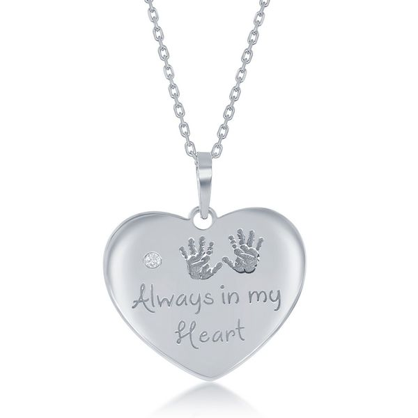 Sterling Silver Engraved Hand Prints 'Always in my Heart' Single CZ Heart Necklace Robert Irwin Jewelers Memphis, TN