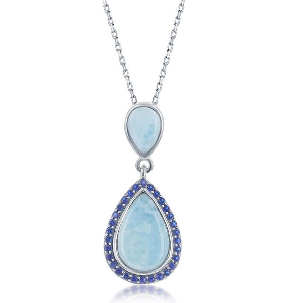Sterling Silver Double Pear-Shaped Larimar with Sapphire CZ Necklace Robert Irwin Jewelers Memphis, TN