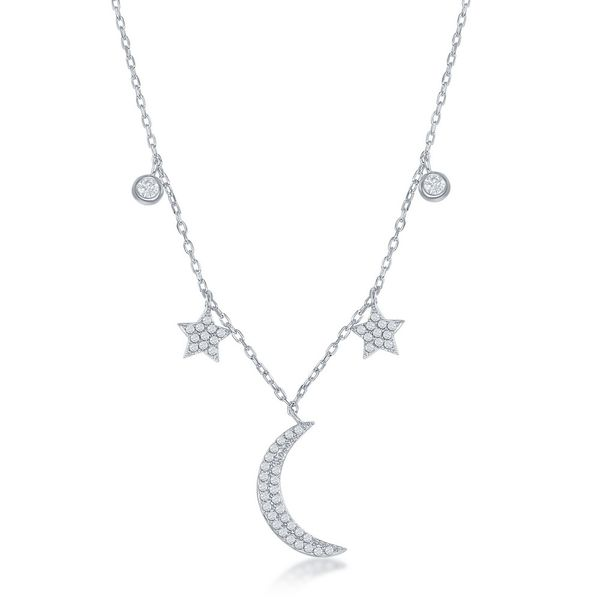 Sterling Silver Moon and Stars CZ Necklace Robert Irwin Jewelers Memphis, TN