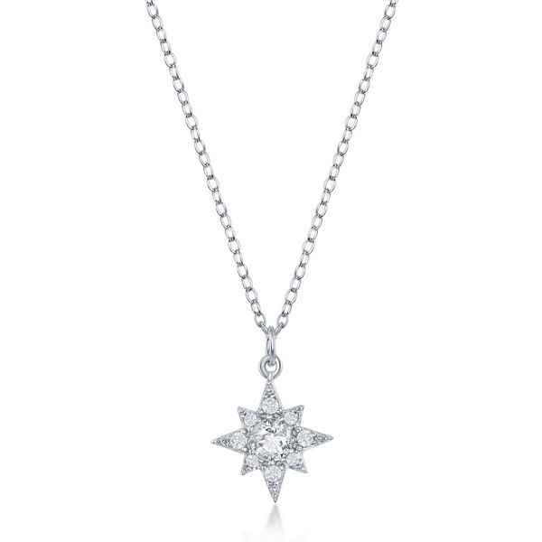 Sterling Silver North Star CZ Necklace Robert Irwin Jewelers Memphis, TN