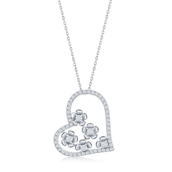 Sterling Silver CZ Heart and Flowers Necklace Robert Irwin Jewelers Memphis, TN