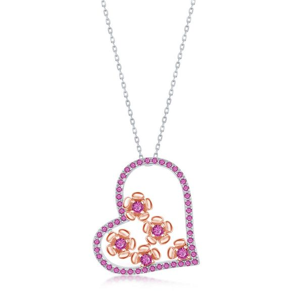 Sterling Silver CZ Ruby Heart and Flowers Necklace - Rose Gold Plated Robert Irwin Jewelers Memphis, TN