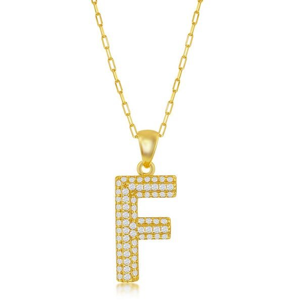 Sterilng Silver Micro Pave CZ F Block Initial w/ Paperclip Chain - Gold Plated Robert Irwin Jewelers Memphis, TN