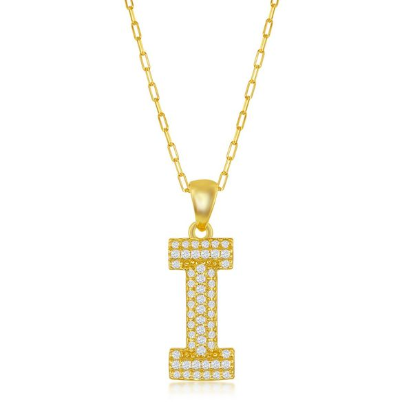 Sterilng Silver Micro Pave CZ I Block Initial w/ Paperclip Chain - Gold Plated Robert Irwin Jewelers Memphis, TN