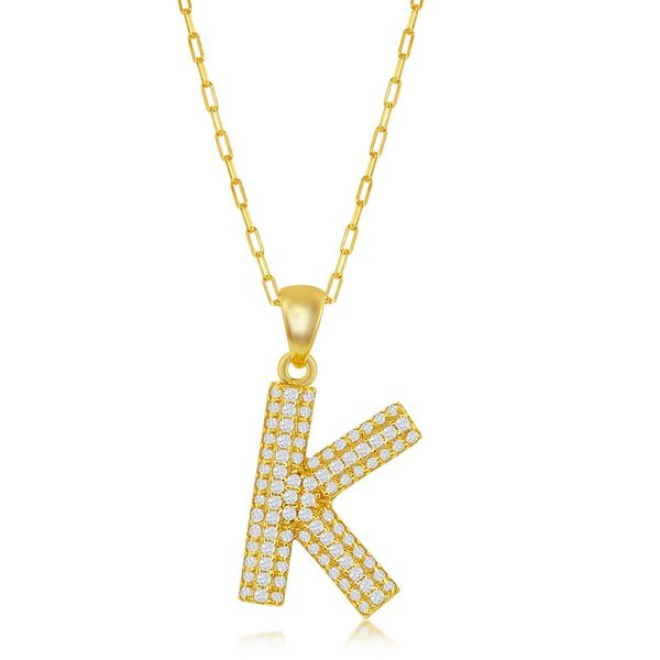 Sterilng Silver Micro Pave CZ K Block Initial w/ Paperclip Chain - Gold Plated Robert Irwin Jewelers Memphis, TN